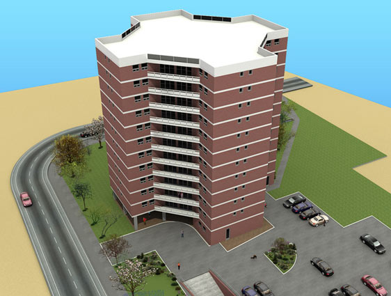 3D BIM Architectural Model of Building