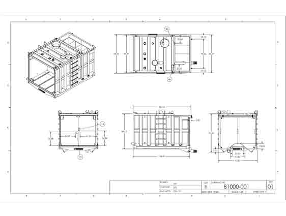 CAD 2D Drafting for Container