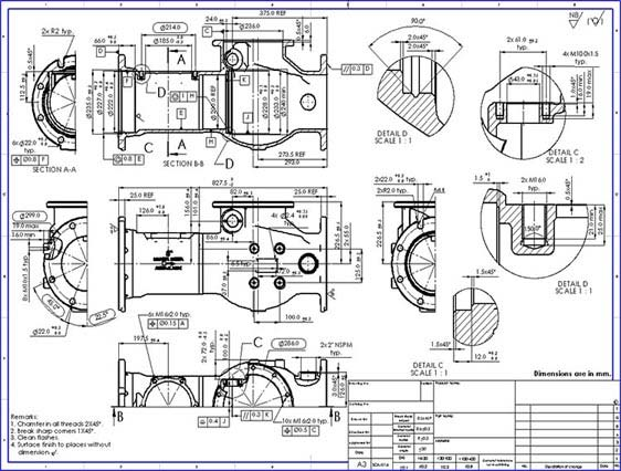 Mechanical 2D CAD Drafting for Pressure Vessel