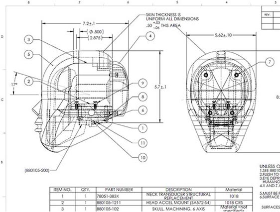 Mechanical CAD Drafting of Human Body Part