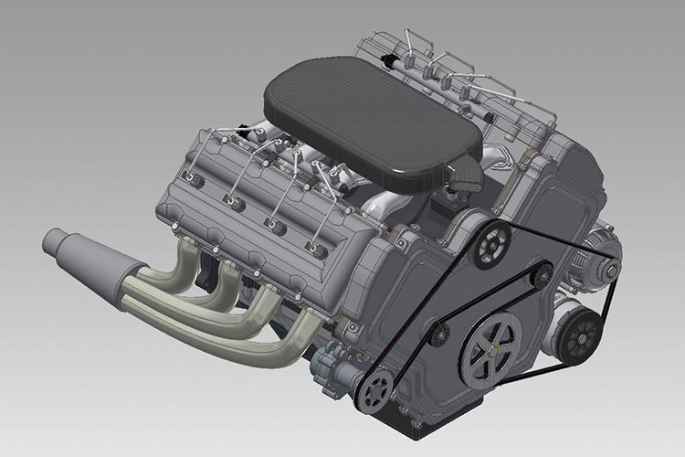 3D CAD Model - V8 Engine